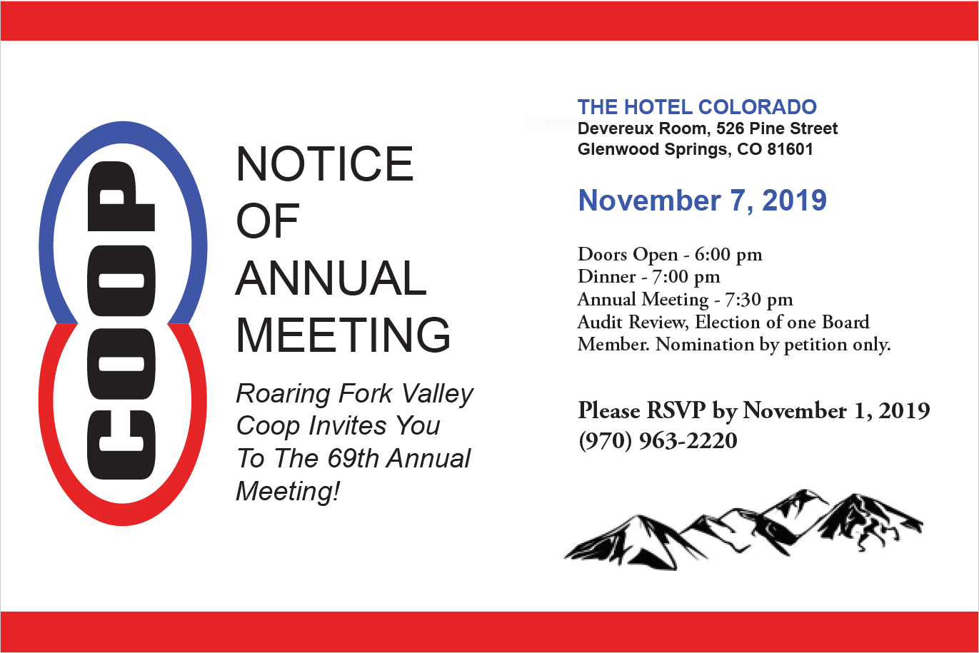 Notice of Co-op Annual Meeting: November 7th 2019, 6pm at the Hotel Colorado